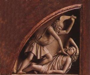 Puzzle Caïn, le premier-né d'Adam et Eve, au moment de tuer son frère Abel