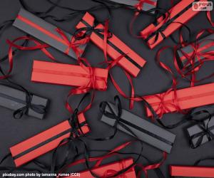 Puzzle Cadeaux rouges et noirs