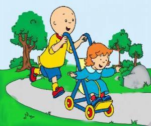 Puzzle Caillou à faire une promenade avec la petite sœur dans la poussette