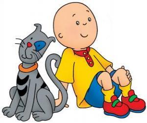 Puzzle Caillou assis sur le plancher avec sa chat Gilbert