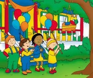 Puzzle Caillou essayer de casser la pinata à une fête avec ses amis