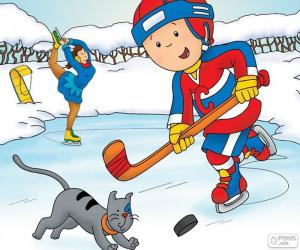 Puzzle Caillou et Gilbert, hockey