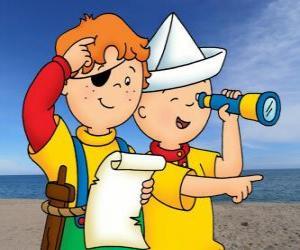Puzzle Caillou et Léo en jouant des pirates et à la recherche d'un trésor avec la carte