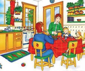 Puzzle Caillou et sa famille de manger dans la cuisine