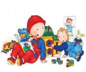 Puzzle Caillou jouant avec sa sœur Mousseline