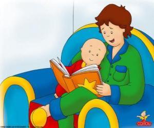 Puzzle Caillou lit un livre avec son père