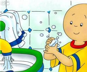 Puzzle Caillou se laver les mains