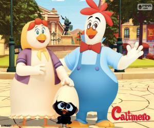 Puzzle Caliméro avec ses parents