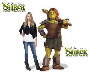 Puzzle Cameron Diaz est la voix de Fiona, le guerrier, dans le dernier film Shrek 4 ou Shrek, il était une fin