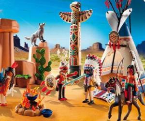 Puzzle Camp indien Playmobil