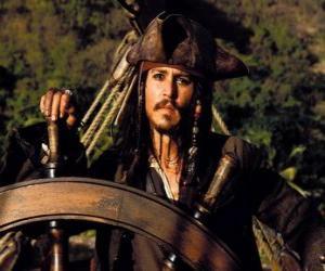 Puzzle Capitaine pirate à la barre de son bateau