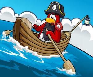 Puzzle Capitaine Rockhopper et son animal de compagnie dans son bateau dans le Club Penguin