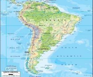 Puzzle Carte Amérique du sud est un continent ou sous-continent ou bien la partie méridionale de l'Amérique