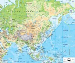 Puzzle Carte de la Russie et l'Asie. Le continent asiatique est le plus grand et le plus peuplé de la terre