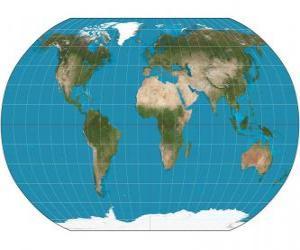 Puzzle Carte de la terre. Carte avec la projection de Robinson qui permet la représentation du monde entier