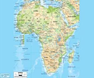 Puzzle Carte de l'Afrique. Le continent africain se trouve entre les océans Atlantique, Indien et Pacifique. Elle est également bordée par la mer Méditerranée et la mer rouge
