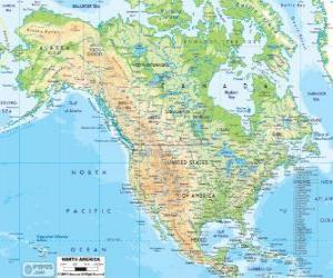 Puzzle Carte de l'Amérique du Nord. Amérique du Nord comprenant les pays de Canada, États-Unis et Mexique