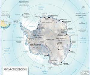 Puzzle Carte de l'Antarctique. Le pôle sud est sur le continent Antarctique