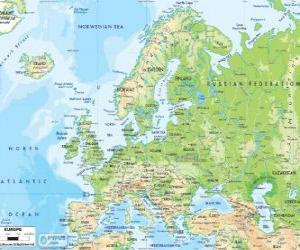 Puzzle Carte de l'Europe. Le continent européen s'étend à travers la Russie vers les montagnes de l'Oural