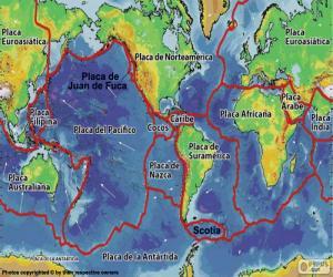 Puzzle Carte des plaques tectoniques