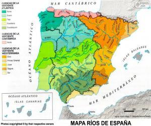 Puzzle Carte des rivières en Espagne