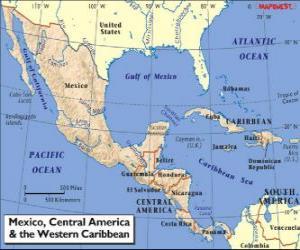 Puzzle Carte du Mexique et Amérique centrale. L'Amérique centrale, sous-continent reliant l'Amérique du Nord et l'Amérique du Sud