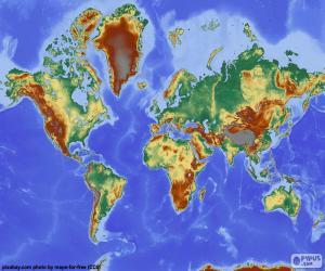 Puzzle Carte du monde en relief