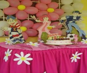 Puzzle Célébration de gâteau d'anniversaire avec des bougies, des cadeaux et des ballons