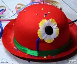 Puzzle Chapeau melon rouge avec fleur