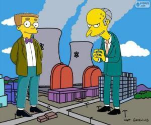 Puzzle Charles Montgomery Burns et Waylon Smithers, propriétaire de la centrale nucléaire de Springfield et son assistant
