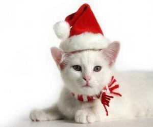 Puzzle chat blanc avec des chapeaux du Père Noël