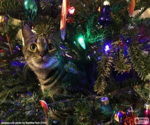 Puzzle Chat et arbre de Noël