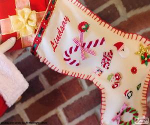 Puzzle Chaussette de Noël et cadeaux