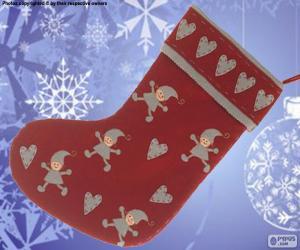 Puzzle Chaussette de Noël décoré avec les elfes et les coeurs