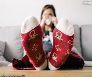 Puzzle Chaussettes avec des rennes de Noël