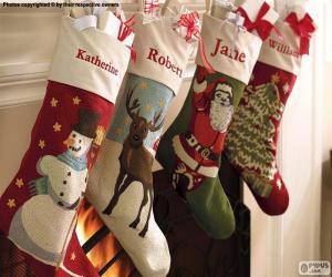 Puzzle Chaussettes de Noël avec décoration