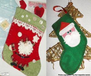 Puzzle Chaussettes de Noël décoré avec le Père Noël