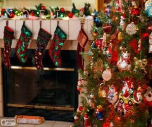 Puzzle Cheminée décorée pour Noël