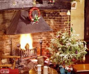Puzzle Cheminée rustique décorée pour Noël