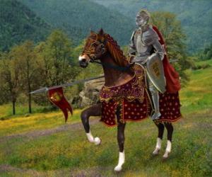 Puzzle Chevalier avec casque et armure et avec sa lance prêt monté sur son cheval