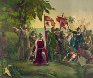 Puzzle Christophe Colomb avec l'épée prend possession des nouvelles terres