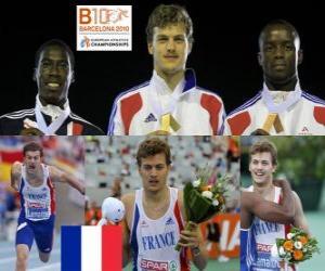 Puzzle Christophe Lemaitre de 200 m champion, Christian Malcolm et Martial Mbandjock (2e et 3e) de l'athlétisme européen de Barcelone 2010