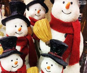 Puzzle Cinq bonhommes de neige