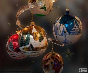 Puzzle Cinq boules de Noël
