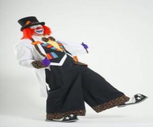 Puzzle Clown avec le plein de costumes, un chapeau, perruque, gants, cravate, pantalon gros et gros souliers