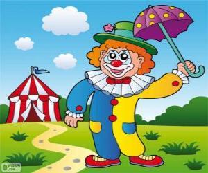 Puzzle Clown avec parapluie