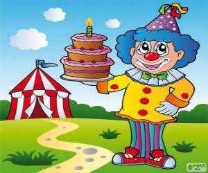 Puzzle Clown avec un gâteau d'anniversaire