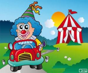 Puzzle Clown en voiture