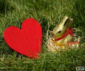 Puzzle Coeur et lapin de Pâques