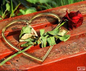 Puzzle Coeur et rose